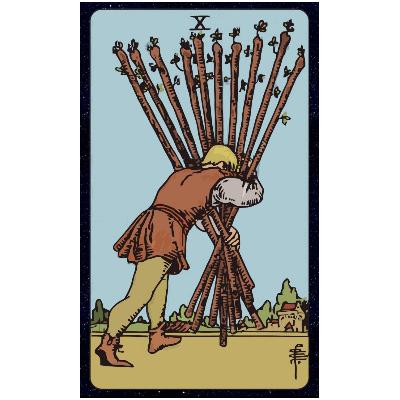 Carta de Tarot 10 de bastos