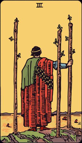 Carta de Tarot 3 de Bastos