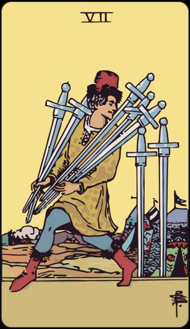 Carta de Tarot siete de espadas