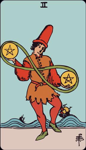 Carta de Tarot 2 Oros